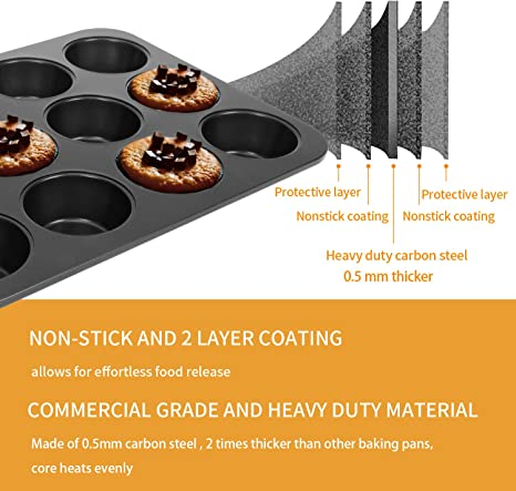 2 12 Red Silicone Non Stick Baking PansTwelve One Dozen CupcakeBundt Cake FormDIYDessertHolidayEco FriendlyReusable Set of Two