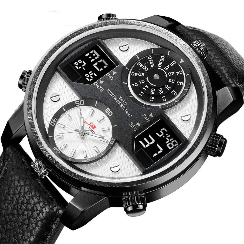 Men's Multifunctional Digital Analog Quartz Watch Business Waterproof Military Leather Band Sport Wrist Watches