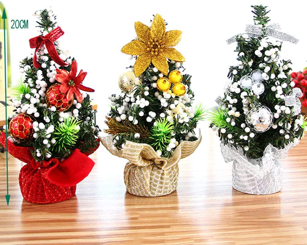 """Ewer 3Pcs Tabletop Mini Christmas Tree Artificial Small Xmas Tree Decor with Ornaments Miniature Tree with Ball, Snow and Baubles for Crafts Home Desktop Desk Festive Holiday Decoration, 6.3"""" Tall"""