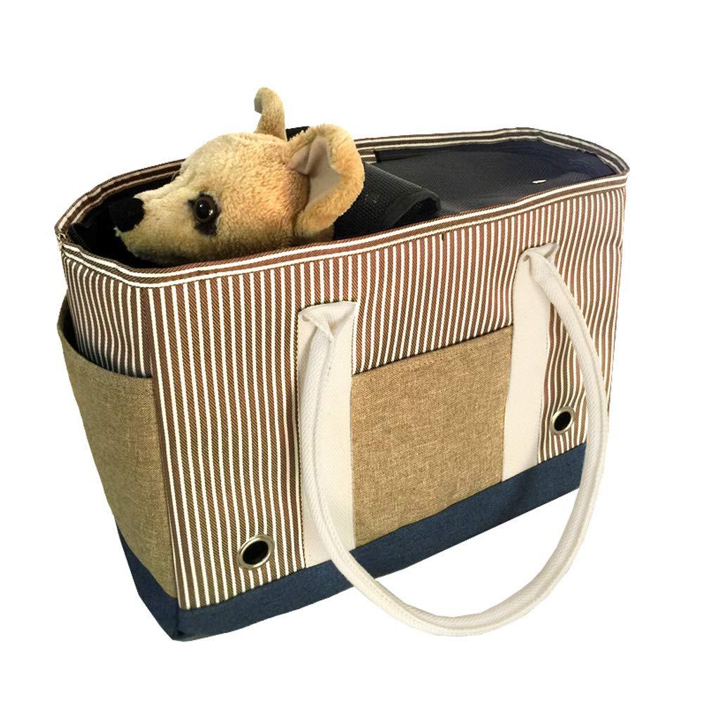 Cofffee 402029cm Cofffee 402029cm Pet Carrier Sling Shoulder Bags Portable Striped Bag Oxford Cloth Cat Dog Bag, Breathable Lightweight Puppy Travel Carry Carrier Handbag
