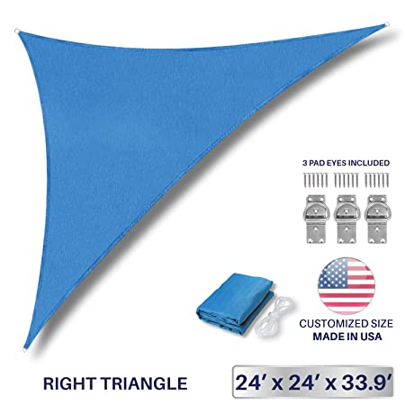 Windscreen4less 24 x 24 x 33.9 Sun Shade Sail Triangle Canopy in Ice Blue Included Free 3 Pad Eyes with Commercial Grade 3 Year Warranty Customized Size