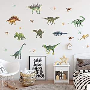 ASMPIO 14Pcs Dinosaurs Wall Stickers, Removable Forest Dinosaur Wall Decals Waterproof Dino Animal Decor Mural for Kids Bedroom Living Room Bathroom Home Decoration