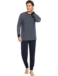 Abollria Pijamas Hombre Algodón 2 Piezas Mangas Larga Pantalon ...