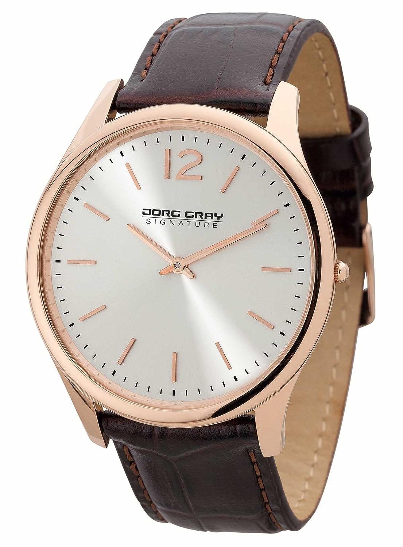 Jorg Gray Herren-Armbanduhr XL Analog Quarz Leder JGS2560