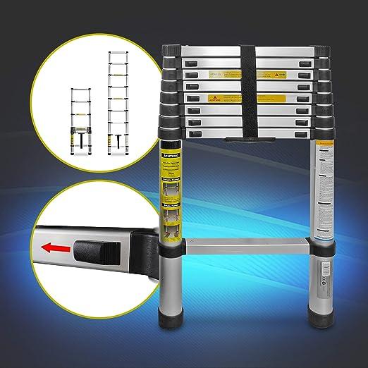 Eaxus® Escalera telescópica multifunción de aluminio plegable de 2 ...