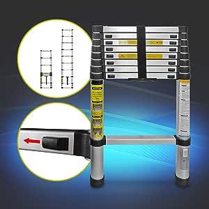 Eaxus® Escalera telescópica multifunción de aluminio plegable de 2,6 metros. 9 peldaños extensibles, portátiles y antideslizantes.: Amazon.es: Bricolaje y herramientas