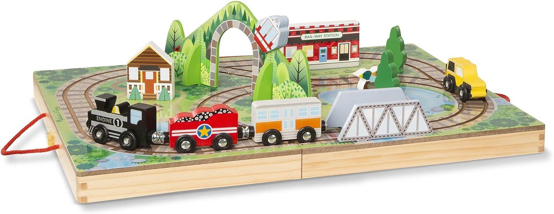 Amazon Com Melissa Doug Take Along Railroad Take Along Farm Multicolor 30142 Toys Games