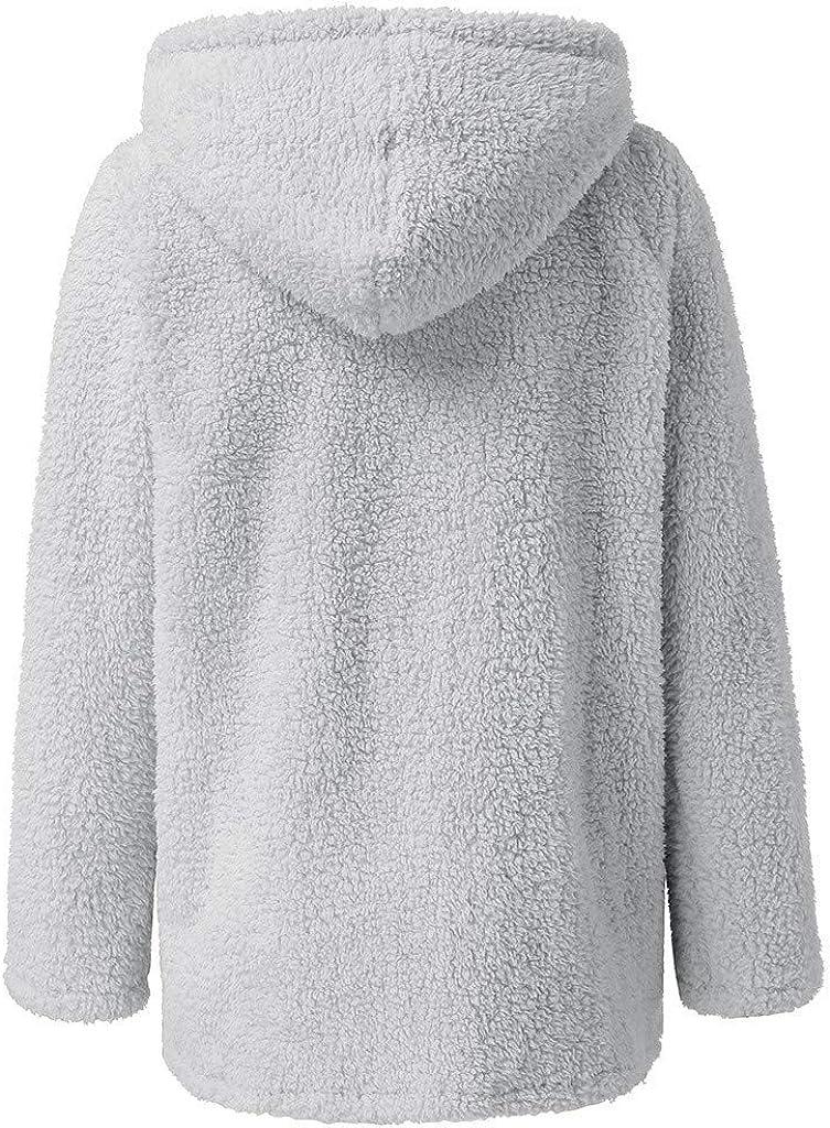 LONUPAZZ Femmes Peluche Blouson Manche Longue Manteau Veste Cardigan /à Capuche /ÉPais Hiver Chaud Hoodie Jacket