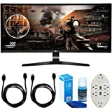 """LG 34"""" WFHD (34UC79G-B) 21:9 UltraWide Curved IPS - 144hz Monitor w/ Accessories Bundle Includes, 2x 6ft HDMI Cable, Universal Screen Cleaner for LED TVs & Transformer Tap USB w/ 6-Outlet Wall Adapter"""
