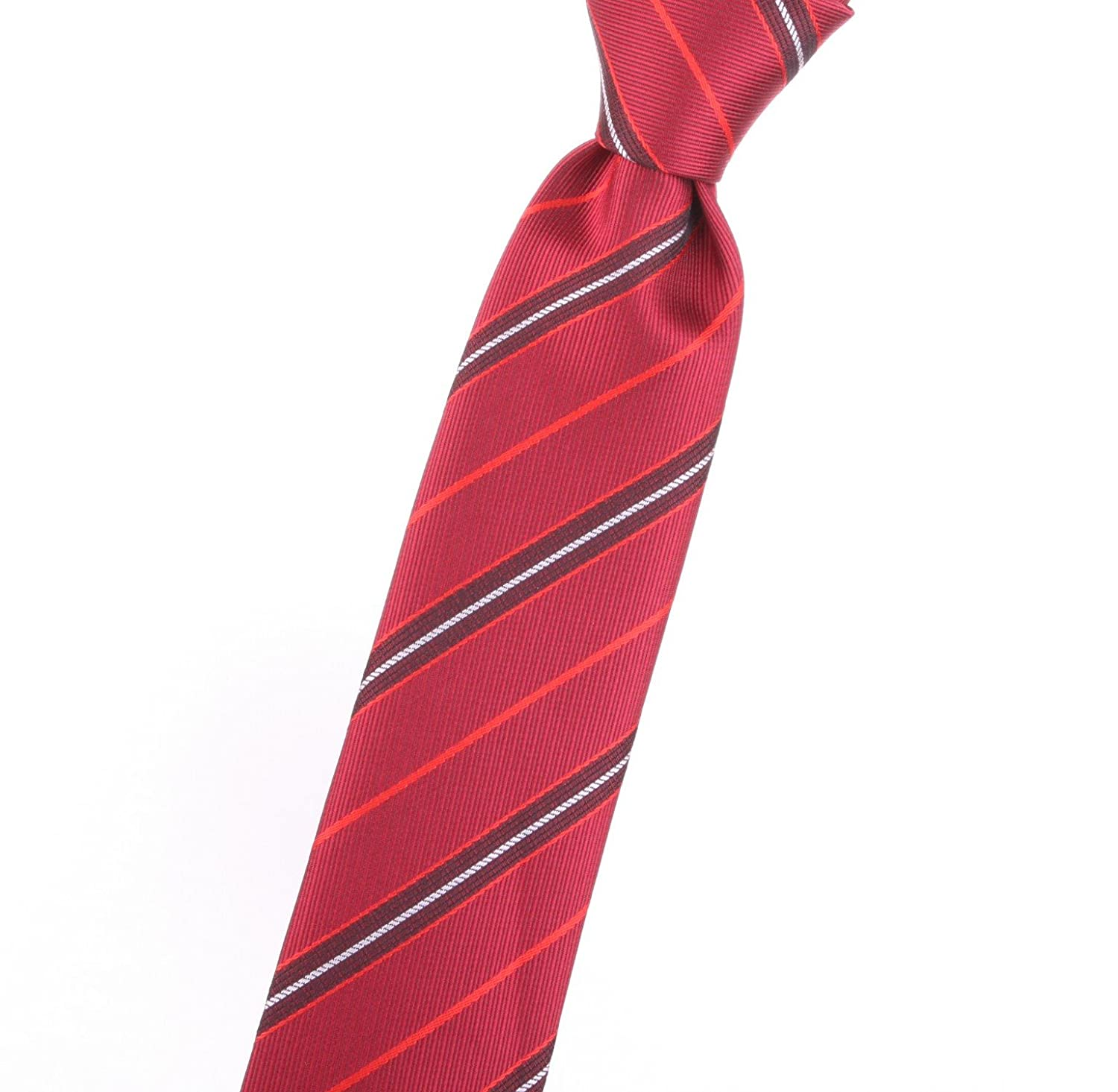 hot sell Kid's, Youth, Children's - Boy's tie with red, solid color, striped/stripes, design - by Jon vanDyk