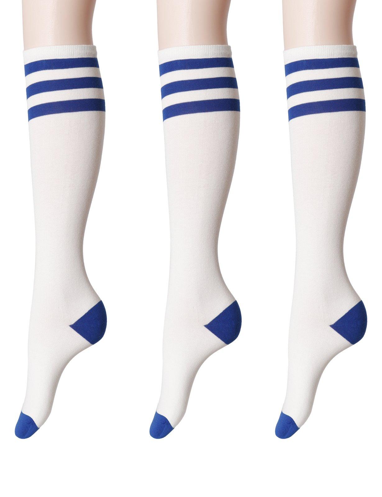 OSABASA Knee High Long Socks Stripe Extra Fine Combed Cotton BLUE (SET3KWMS077)