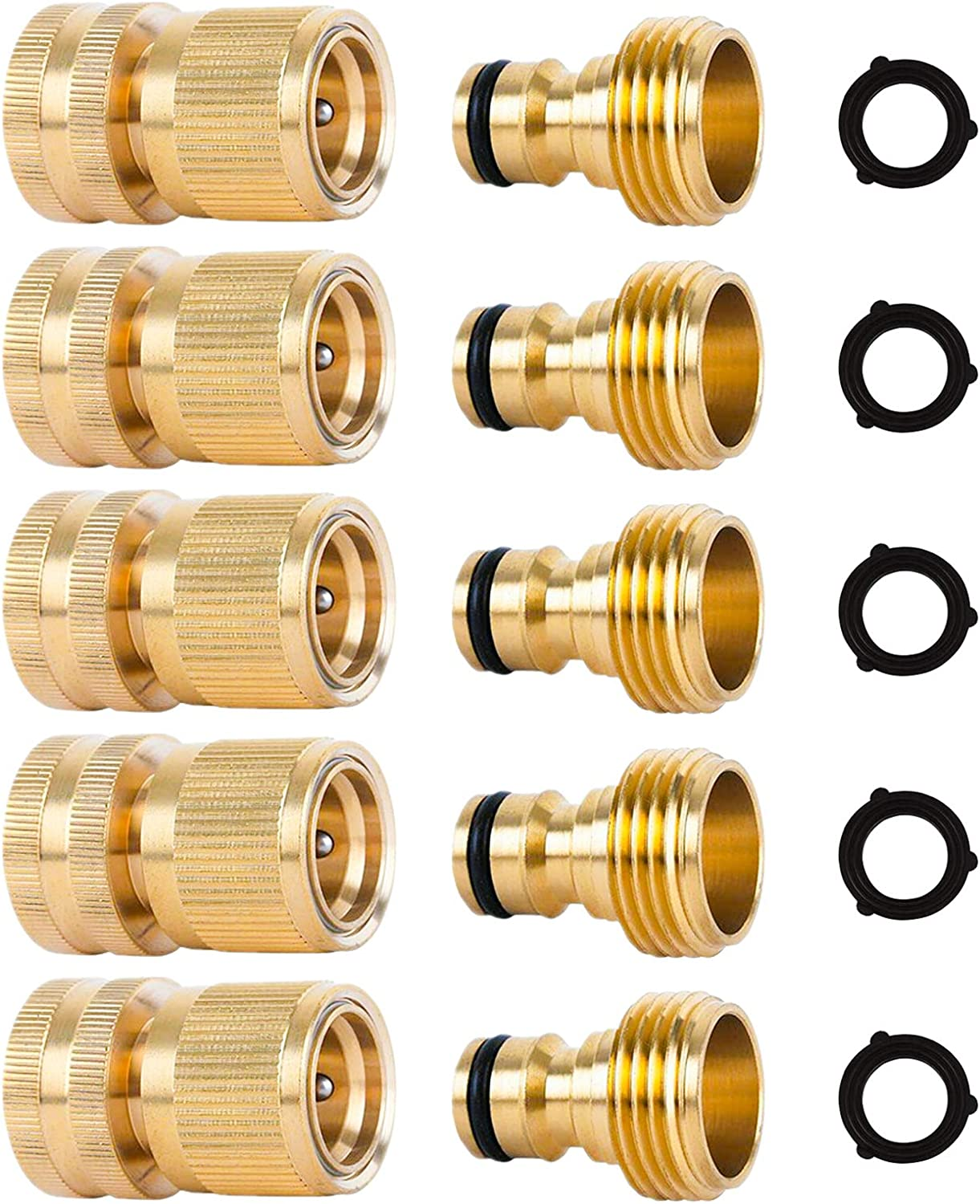 Naiveroo Garden Hose Fitting Quick Connector Solid Brass 3/4 inch Garden Hose Connect Water Hose Connectors Female and Male Set(5 Pack)