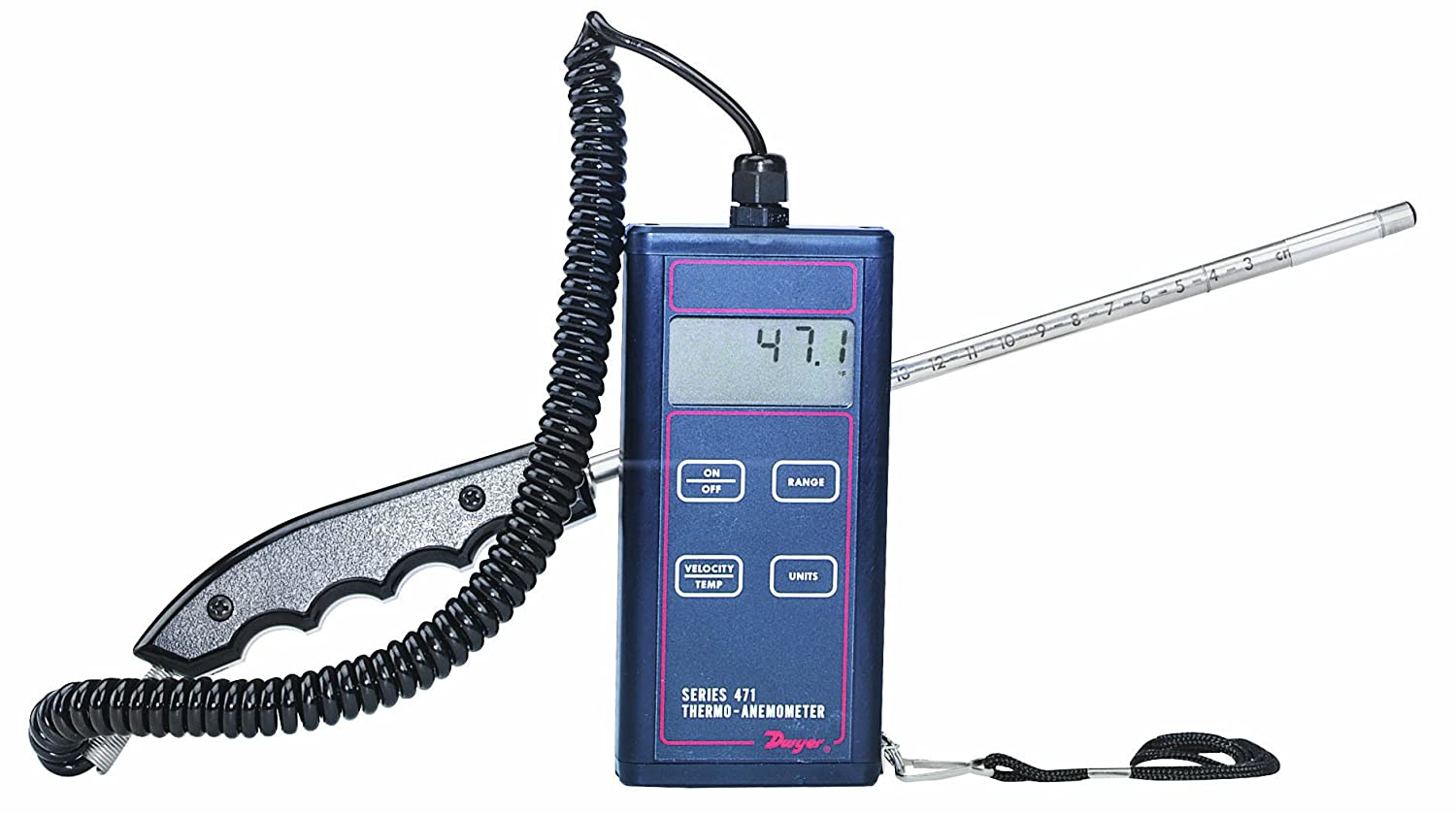 Dwyer 471B Digital Thermo-Anemometer with Hot-Wire Probe, 0 to 30 m/s Velocity, -40 to +100° C Temperature