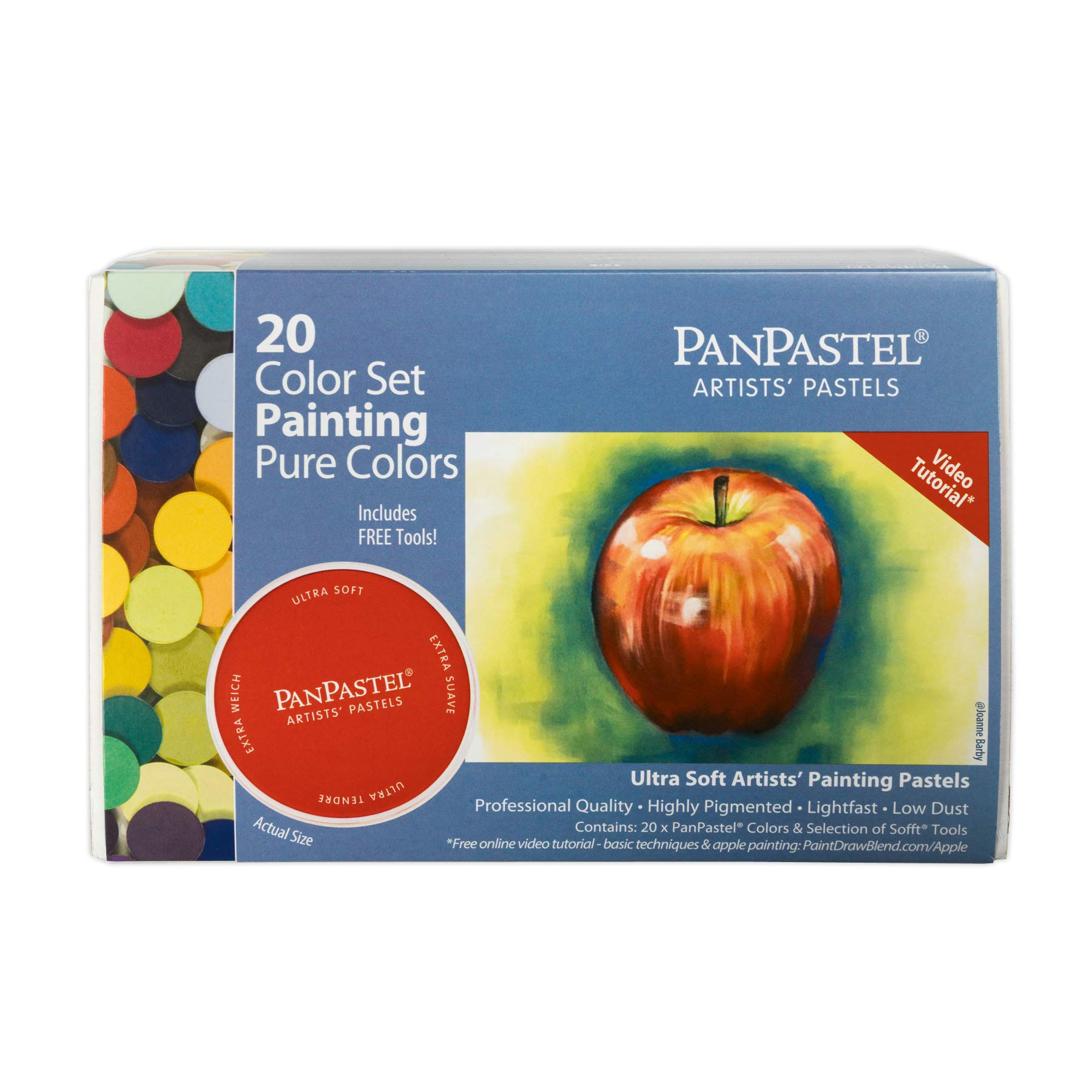 PanPastel 30201 Ultra Soft Artist Pastel 20 Color Set - Painting/Pure Colors w/Sofft Tools