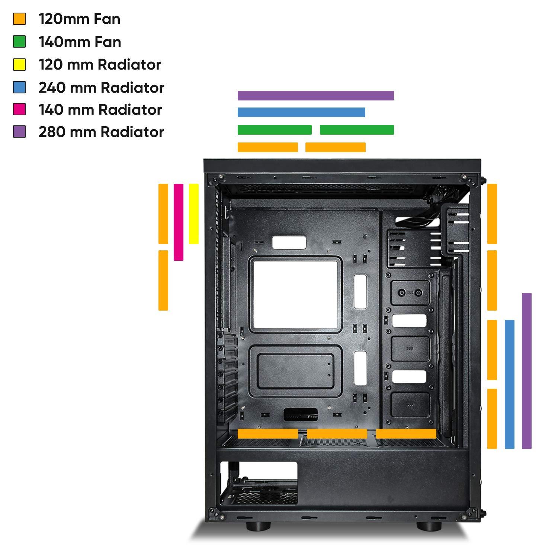 darkFlash Phantom ATX Mid-Tower Computer Case Tempered Glass W// 6pcs RGB fans