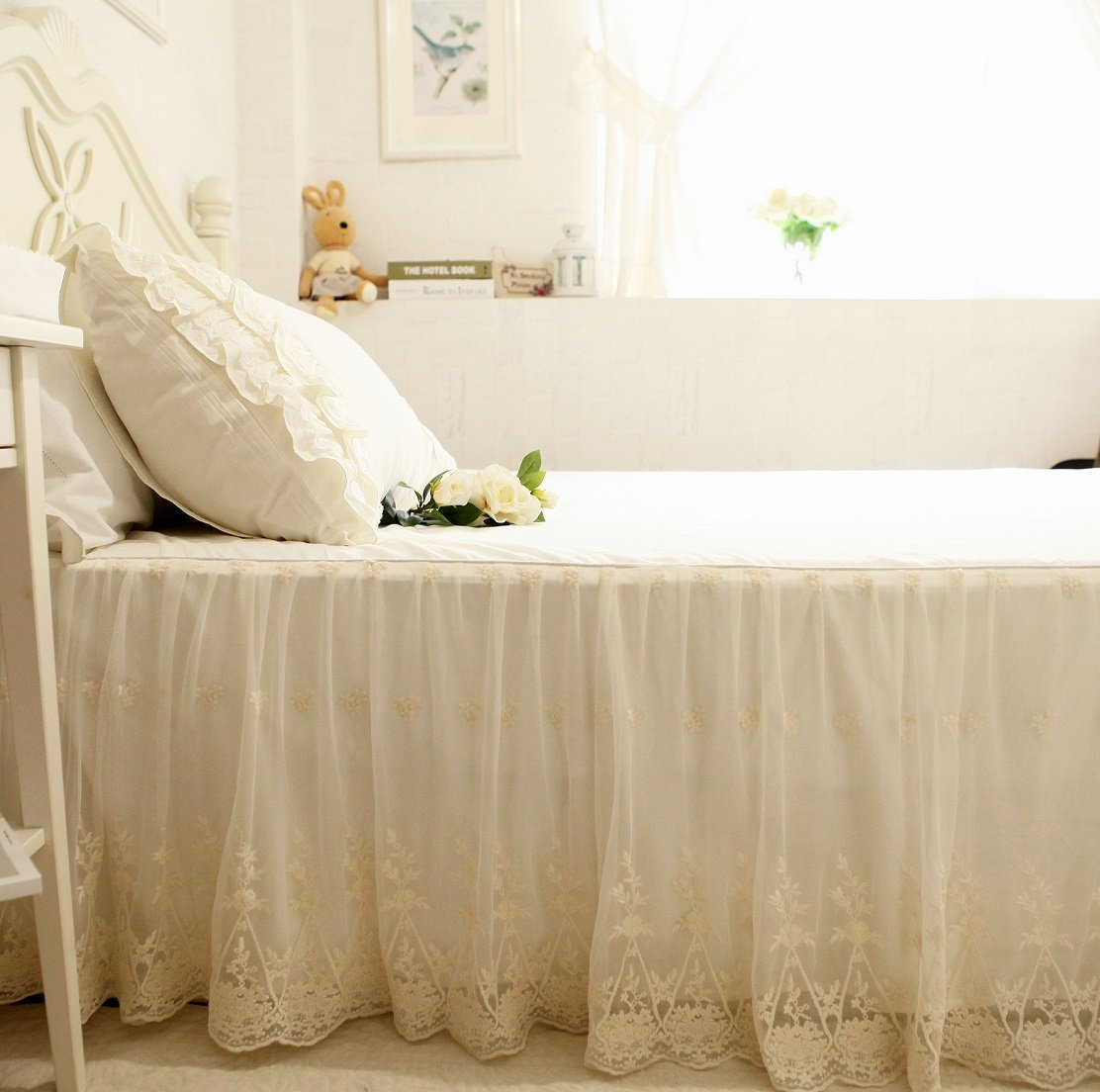 Brandream Romantic White Lace Bed Skirts Korean Bed Skirt Cotton Cal King Size by Brandream