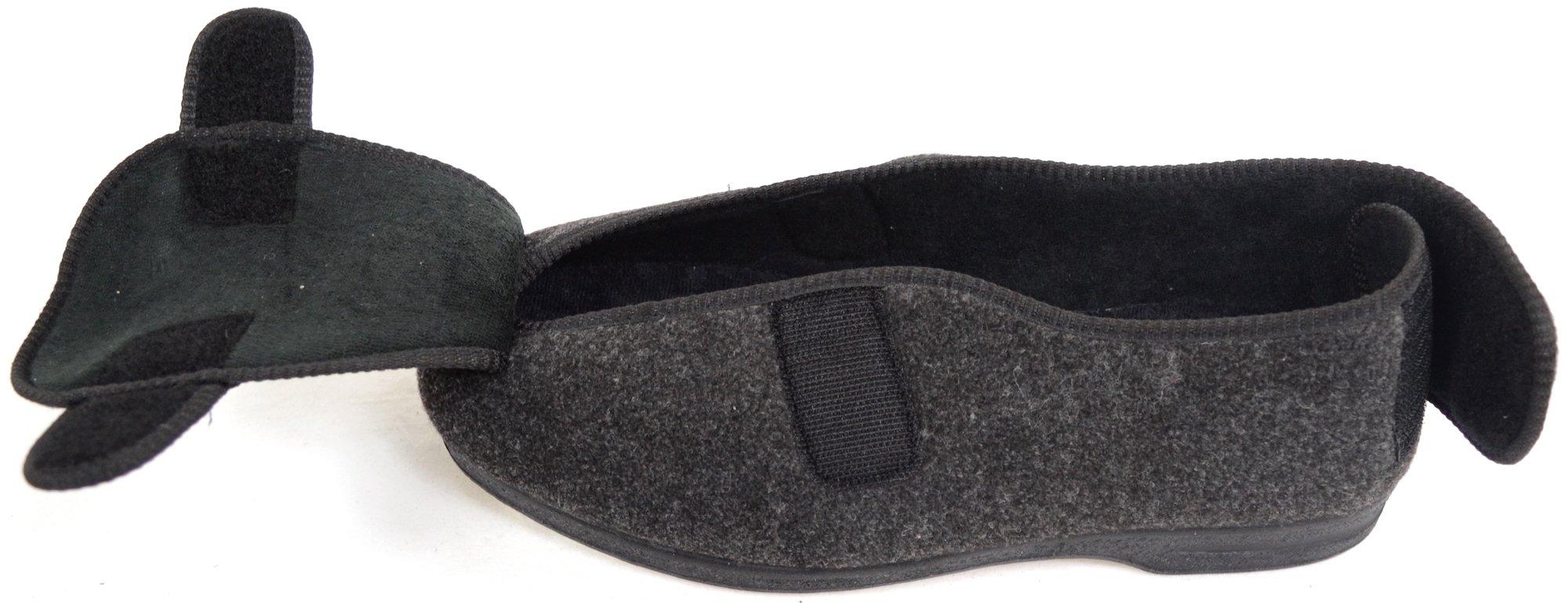 ABSOLUTE FOOTWEAR Mens Orthopaedic/Extra Wide Fit Adjustable Slipper Boot/Slippers - Grey - 10 US by ABSOLUTE FOOTWEAR (Image #8)