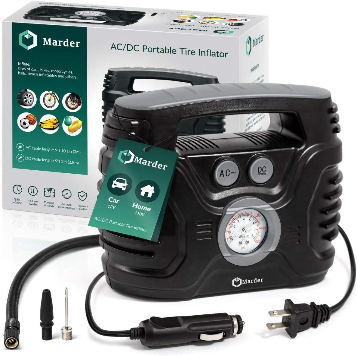 AC/DC Portable Air Compressor/Tire Inflator Powered by Car 12V DC and Home 110V AC