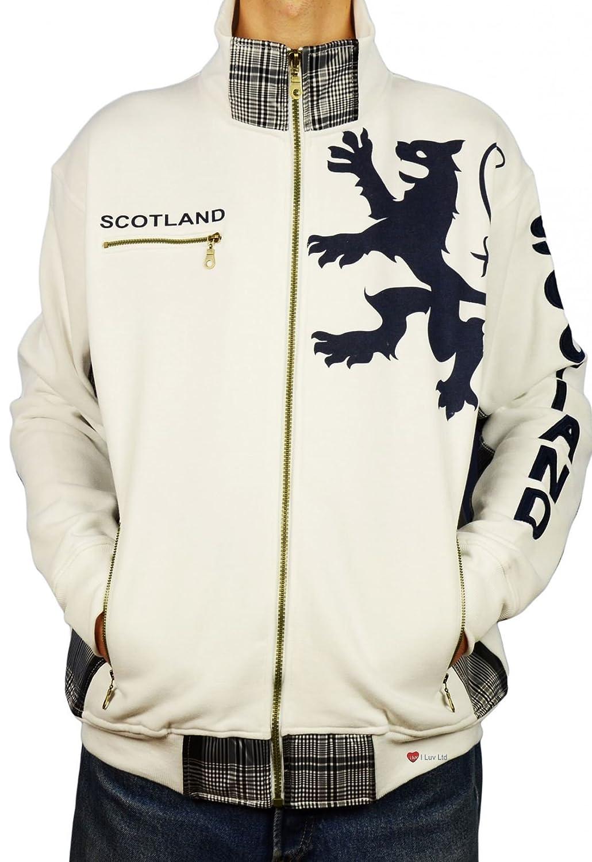 Gents Zipper Top Scotland Lion Tartan Insert Weiß Größe 2X-Large