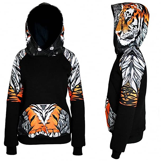Pullover With Pockets Female Hoody 3D Animals Leopard Tiger Fox Harajuku Thickening Women Casual Tracksuit WS2849E at Amazon Womens Clothing store: