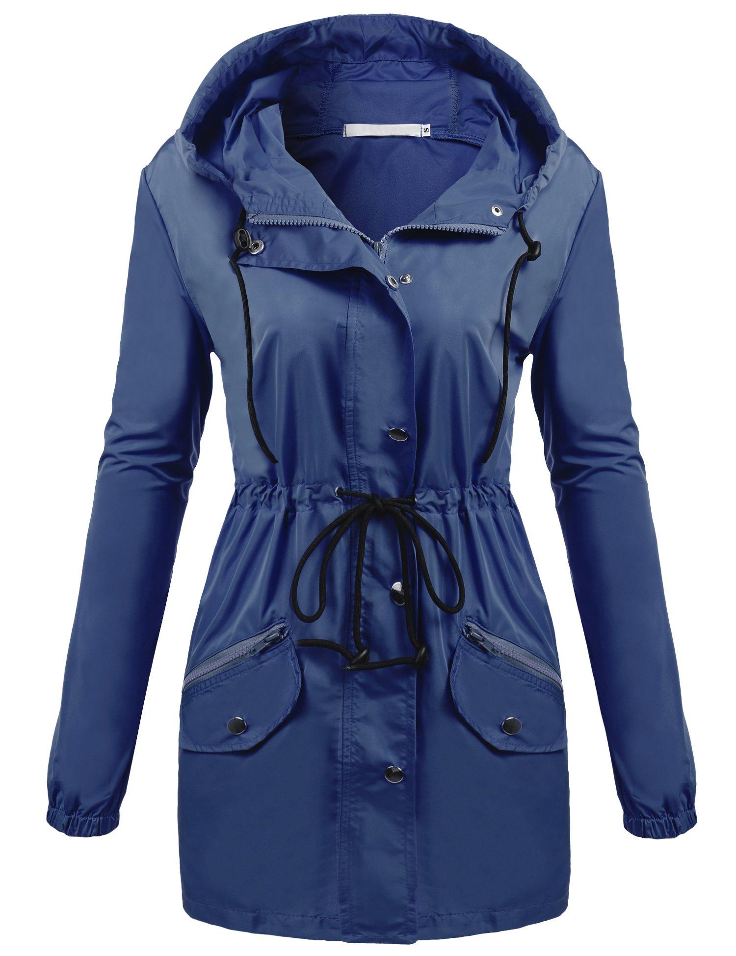unibelle Rain Jacket Women Lightweight Hooded Waterproof Raincoat Dark Blue