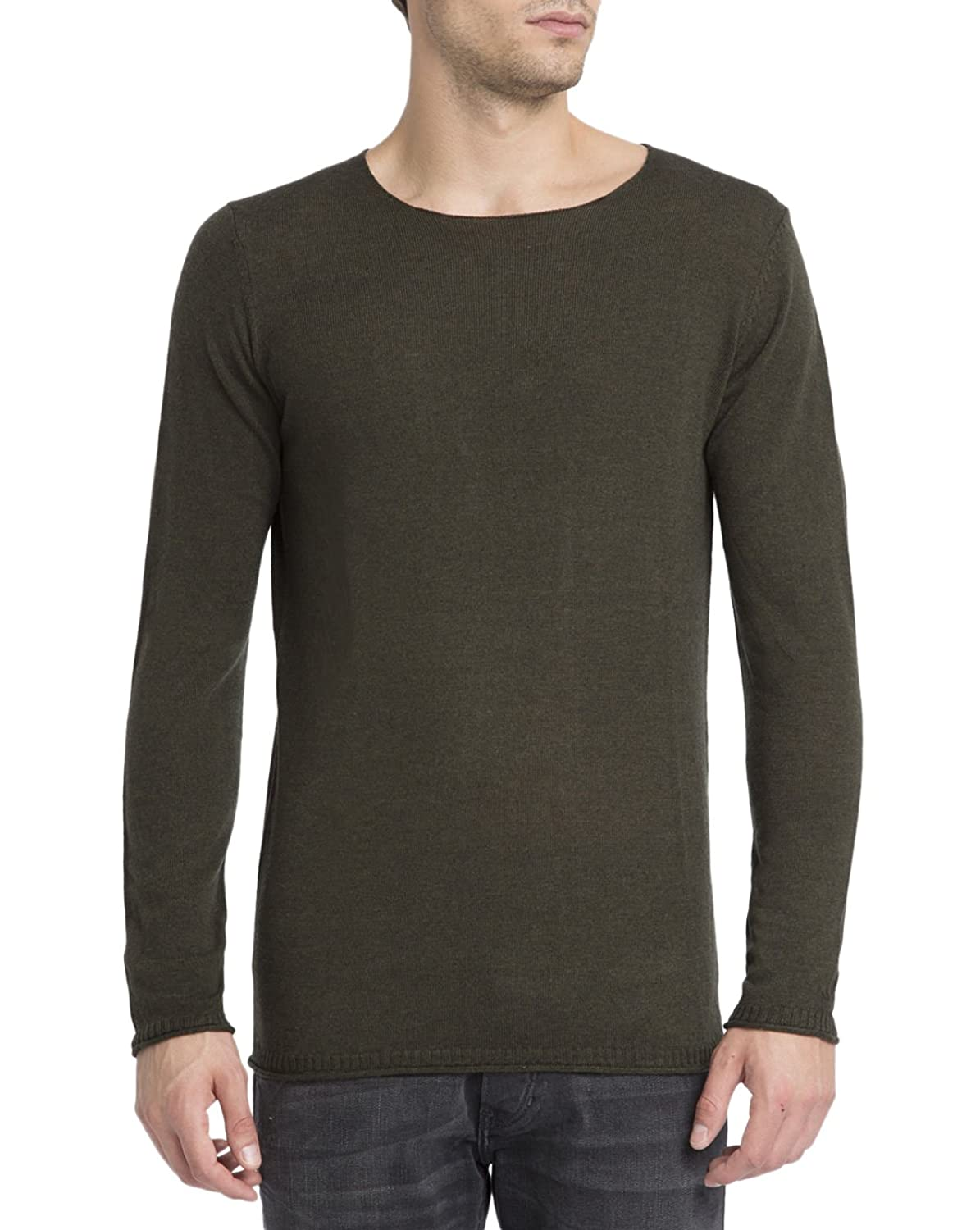 NOWADAYS - Crew-neck Sweaters - Men - Green Cashmere Round-Neck Sweater for men