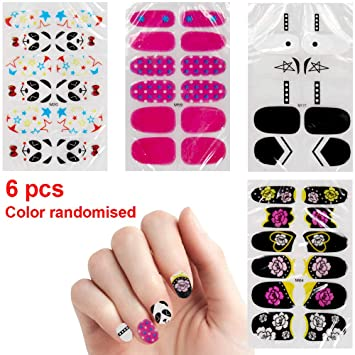 Amazon.com: 6 Sheets Color Nail Art Stickers for Women Nails Design ...