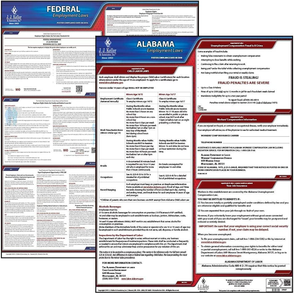Amazon Com 2020 Alabama State And Federal Labor Law Poster Set English Al State Osha Compliant Laminated Posters Includes Ffcra Poster Office Products