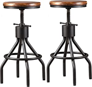 Diwhy Industrial Vintage Kitchen Counter Height Adjustable bar Stool,Farmhouse French Stylish Kitchen Stool,Swivel Bar Stool,Solid Wood and Black Metal Stool,Easy Installation,Fully Welded Set of 2