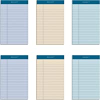 TOPS Docket 100% Recycled Writing Tablet, 5 x 8 Inches, Perforated, Assorted Colors: Orchid, Ivory, Blue, Narrow Rule…