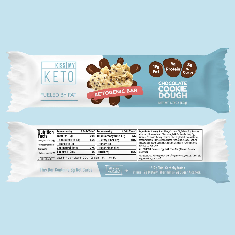 Kiss My Keto Snacks Keto Bars - Keto Chocolate Cookie Dough (3 Pack, 36 Bars), Nutritional Keto Food Bars, Paleo, Low Carb/Glycemic Keto Friendly Foods, All Natural On-The-Go Snacks, 3g Net Carbs by Kiss My Keto (Image #4)