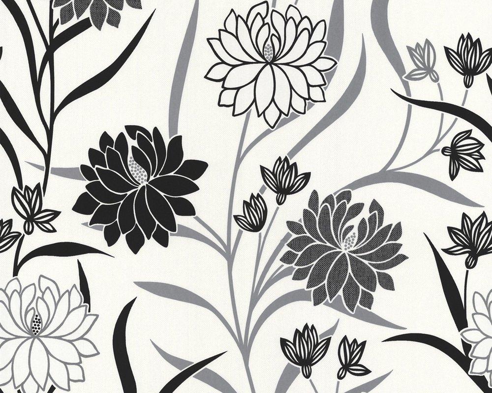 as cration vliestapete best of vlies tapete floral 1005 m x 053 m metallic schwarz wei made in germany 224910 2249 10 amazonde baumarkt - Tapete Schwarz Wei Muster