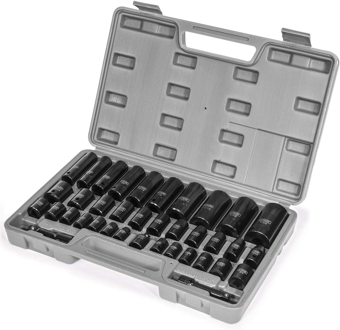 "Stark 38PC Impact Socket Set SAE and Metric Deep Shallow 3/8"" & 1/2\"" Drive Extension Bar 6-Point Socket with Carrying Storage Case"
