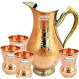 Prisha India Craft Copper Jug with 4 Glass Drinkware Set, 2000ml/67.63oz(Brown, m_jug015-1-glass005-4)