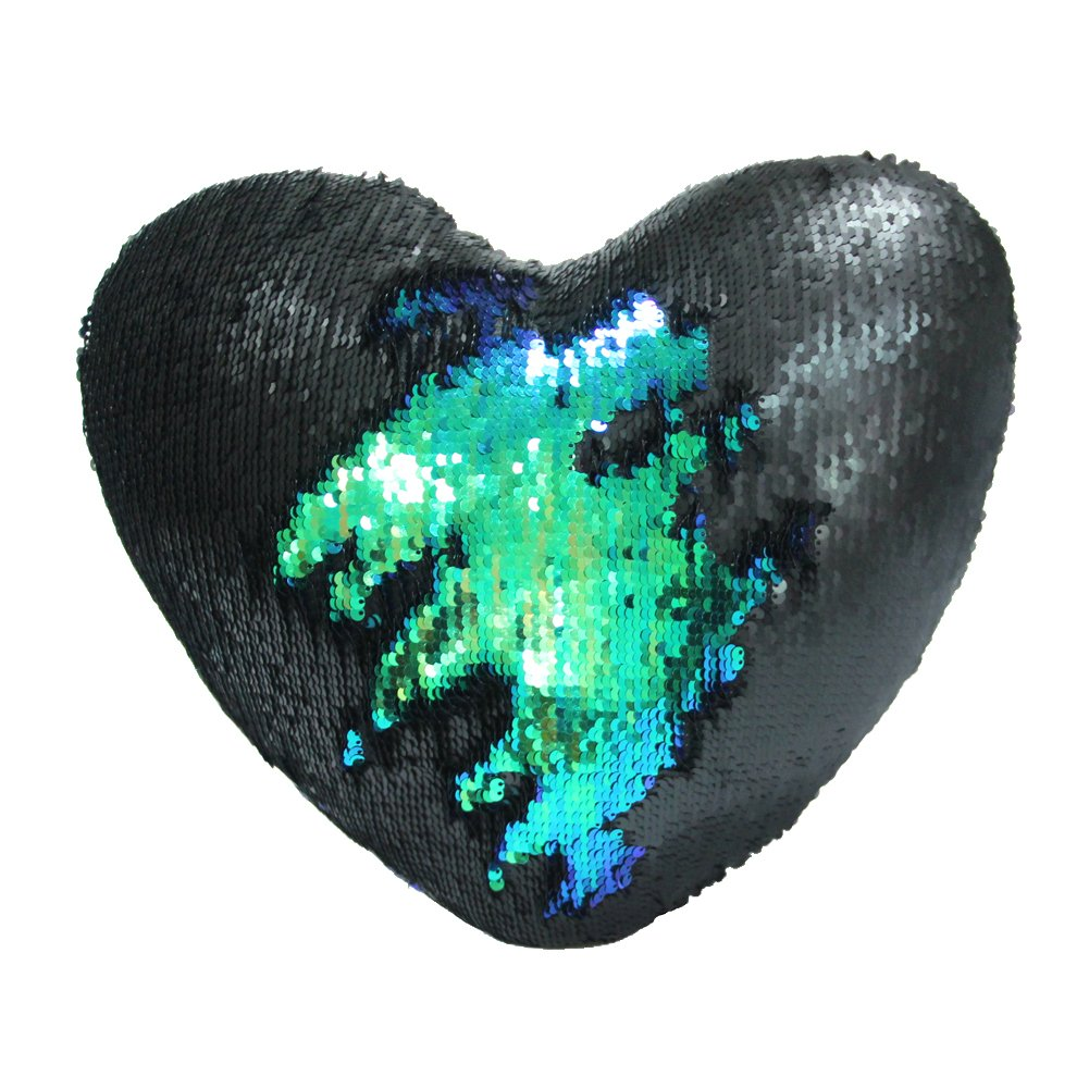 Mermaid Throw Pillow with Insert , Play Tailor Reversible Sequins Pillow Heart Shape Decorative Cushion(13'' x 15'',Black Magic+Color Green)