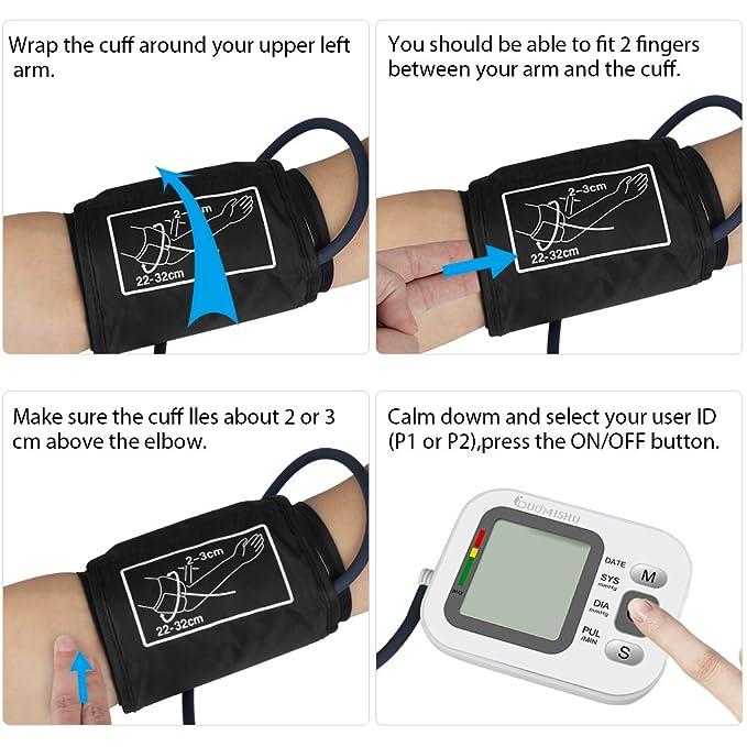 Tensiómetro de Brazo Digital con Funda para Guardar Medidor Tension Arterial y Función de Memoria(2*90) Gran Pantalla para Usar en Casa o Viaje(Blanco) ...
