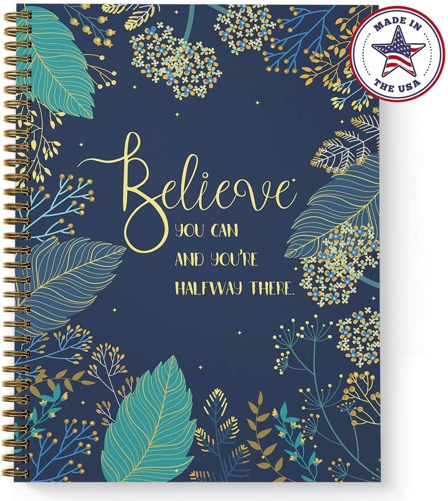 """Softcover Believe You Can 8.5"""" x 11"""" Motivational Dot Grid Journal/Spiral Notebook, 120 Dot Grid Pages, Durable Gloss Laminated Cover, Gold Wire-o Spiral. Made in The USA"""