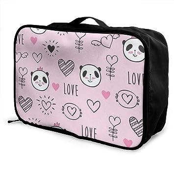 Amazon.com: Bolsas de viaje Love Panda rosa portátil maleta ...