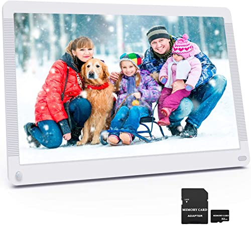 Digital Picture Frame 17.3 Inch 1920×1080 16 9 Ratio Screen, Photo Auto Rotate, Motion Sensor, Auto Play, Auto Time On Off, Wall Mountable, Background Music, Remote Controller, Include 32GB SD Card