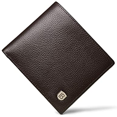 c385a05a326 BOSTANTEN Leather Wallets for Men RFID Blocking Bifold Stylish Wallet With  2 ID Window Coffee