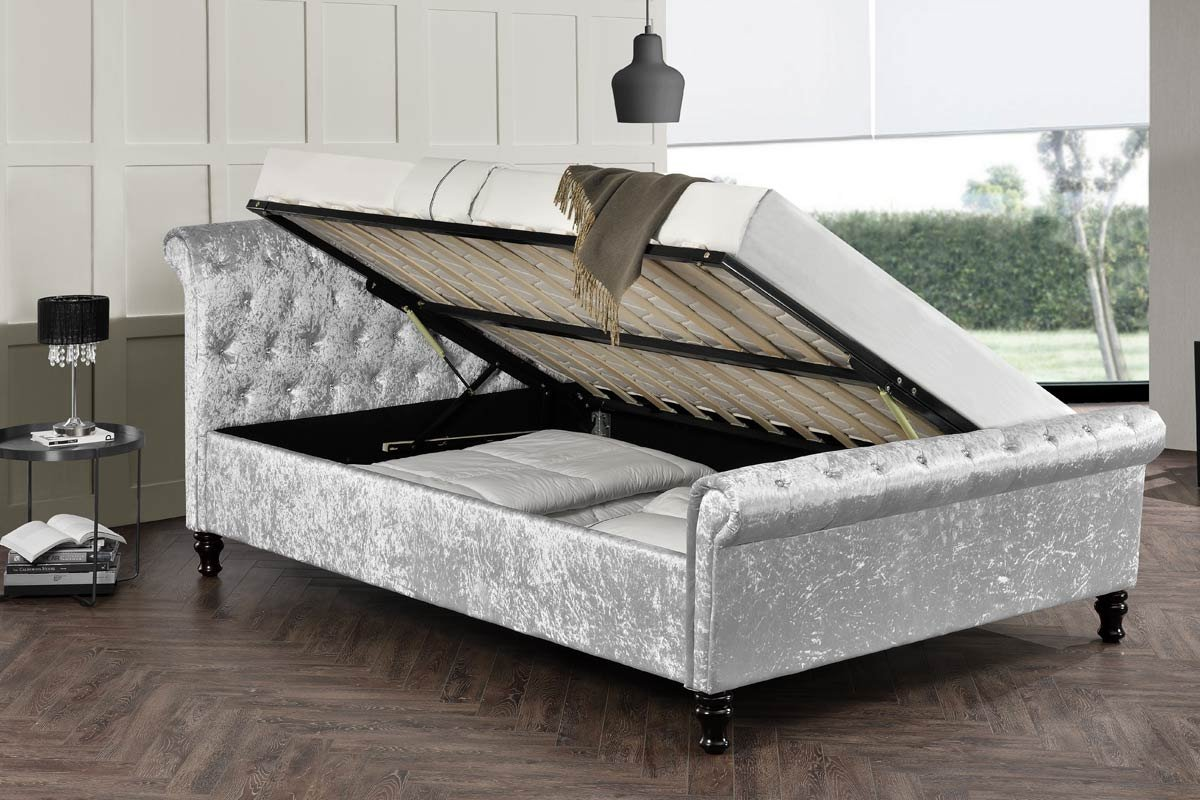 2c4e783f5818 St. James Silver Crushed Velvet Fabric Upholstered Ottoman Diamante Scroll  Headboard Sleigh Chesterfield Bed Frame Double   King Size by Sleep Design  ...