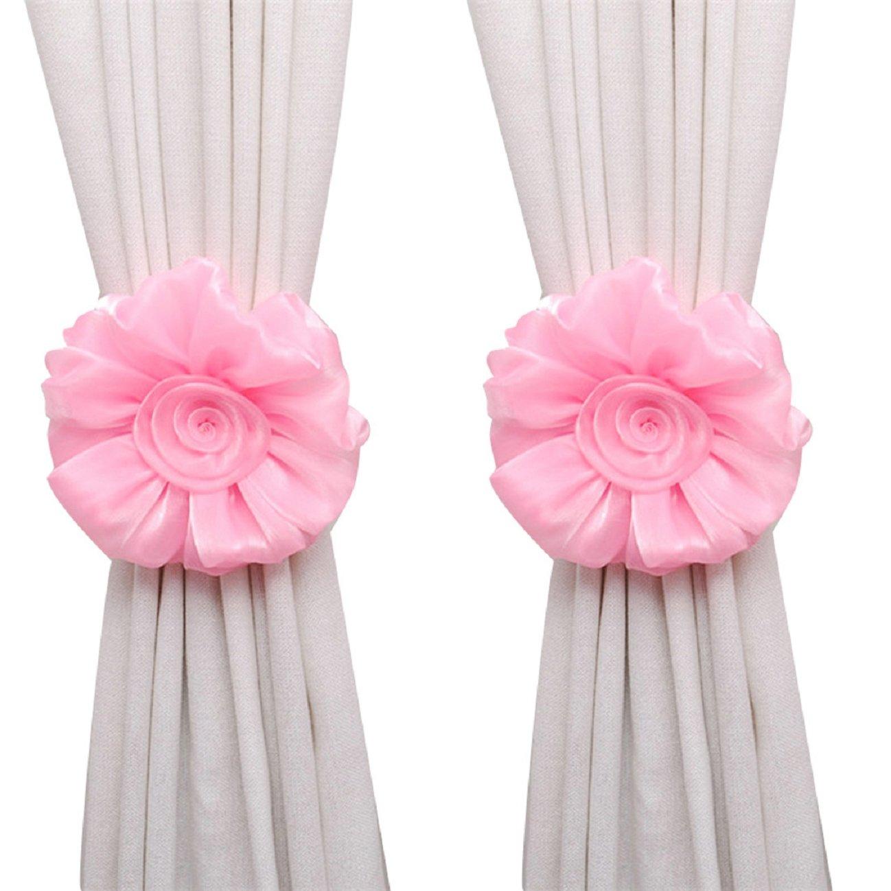 Tonsee 1Pair Rose Flower Window Curtain Tieback Buckle Clamp Hook Fastener Decor (Pink)