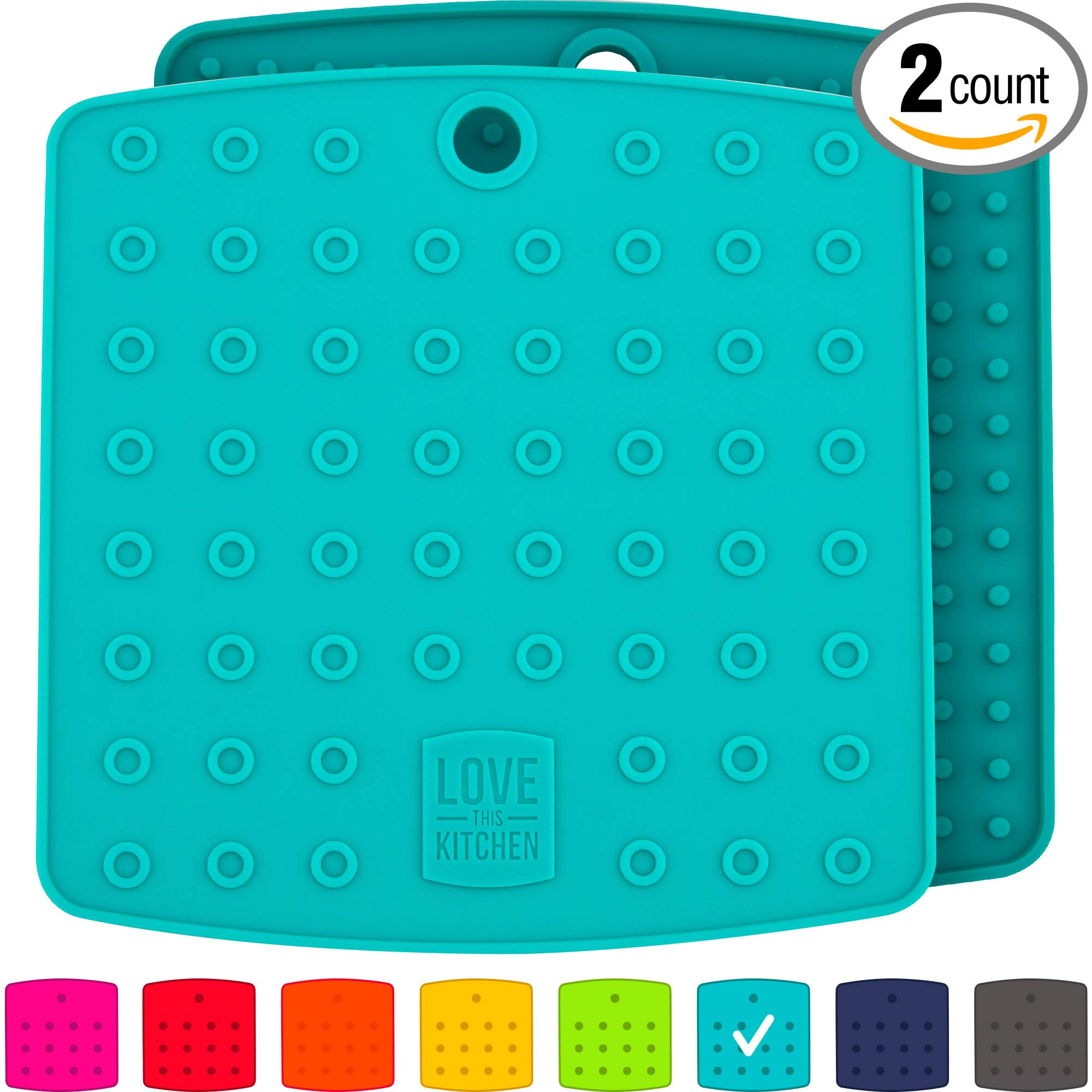 Premium Silicone Trivet Mats/Hot Pads, Pot Holders, Spoon Rest, Jar Opener & Coasters - Our 5 in 1 Kitchen Tool is Heat Resistant to 442 °F, Thick & Flexible (7'' x 7'', Teal, Set of 2) by Love This Kitchen