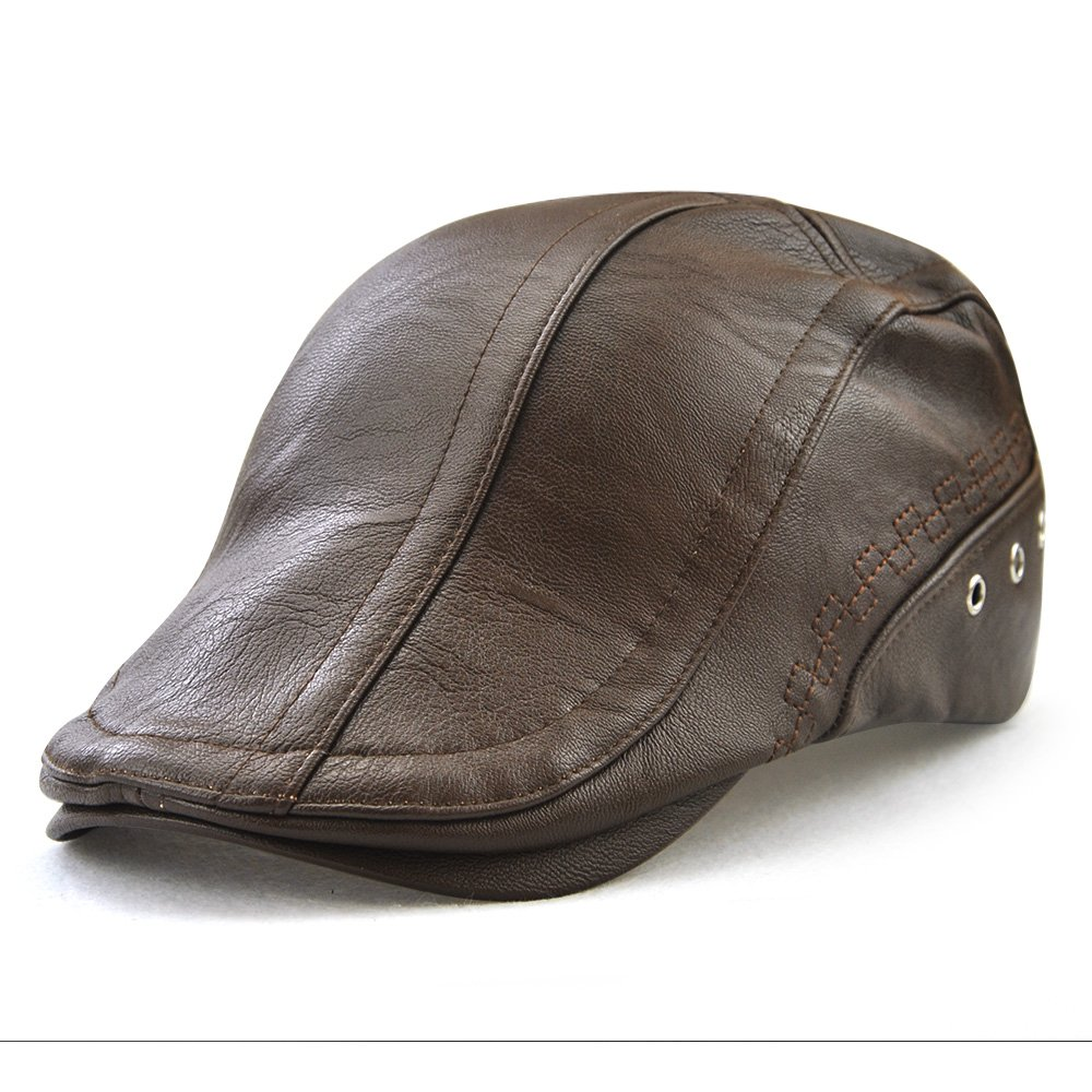 Men's PU Leather Beret Hat Casquette Flat Visor Newsboy Cap With Perforated Decorated 12982
