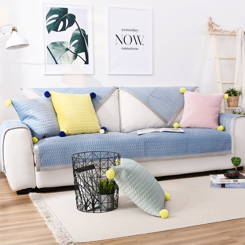 bluee 110x210cm(43x83inch) bluee 110x210cm(43x83inch) TY&WJ Plush Sofa cover Thickening Sofa slipcover Anti-slip For living room Outdoor Pet dog & kids Furniture predector-bluee 110x210cm(43x83inch)