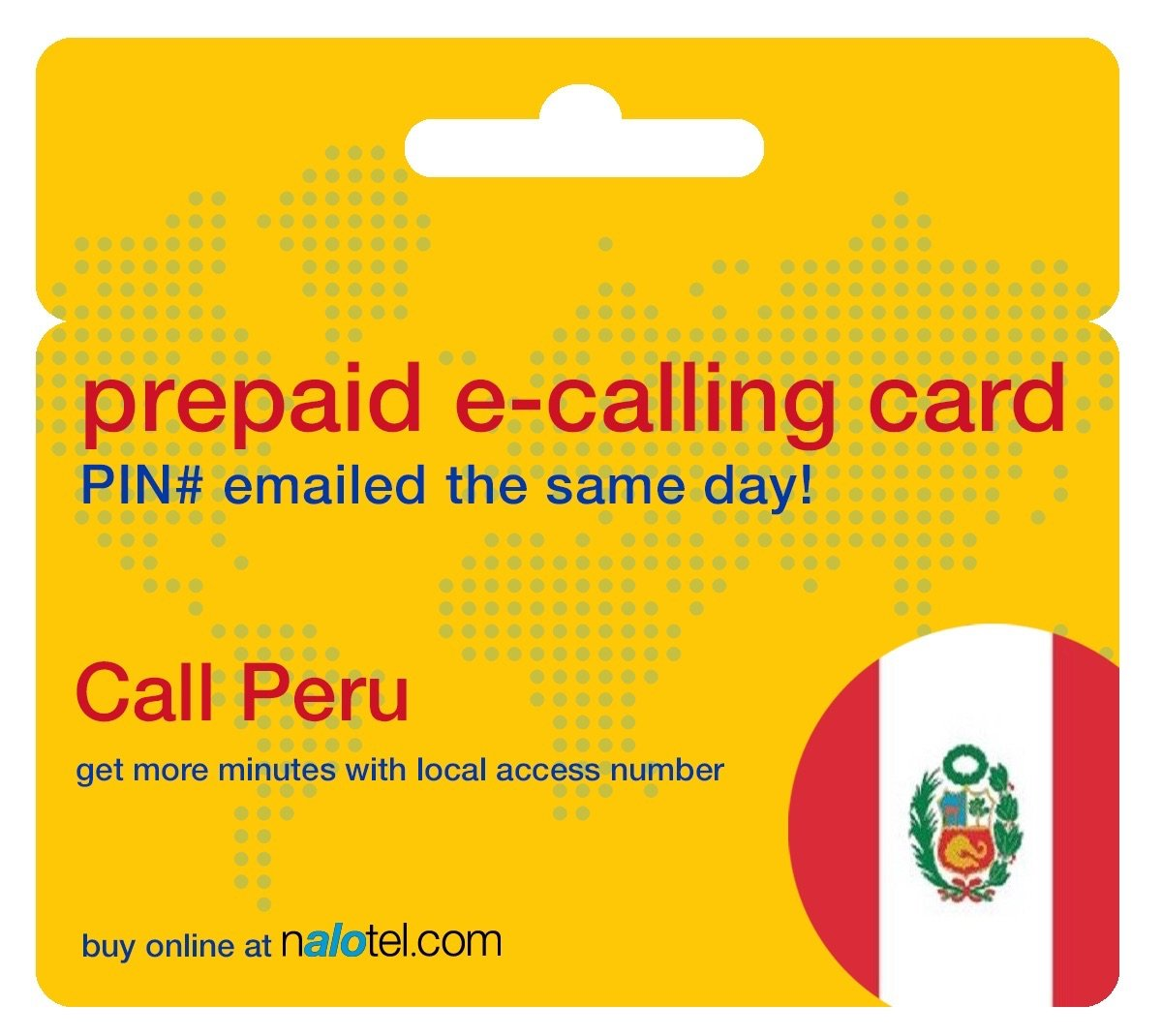 Prepaid Phone Card - Cheap International E-Calling Card $10 for Peru with same day emailed PIN, no postage necessary