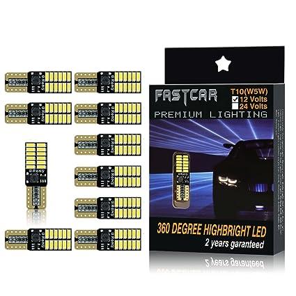 10pcs 194 W5W T10 led canbus no error Bombillas de cuña 24 leds 4014SMD Luces de