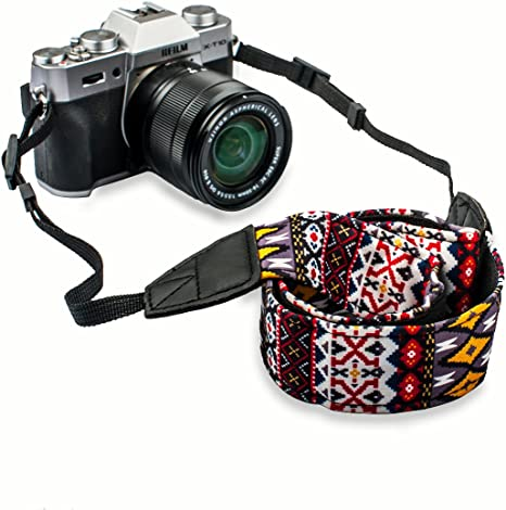 LOVY Universales Retro colores raya correa Correa para Sony Canon ...