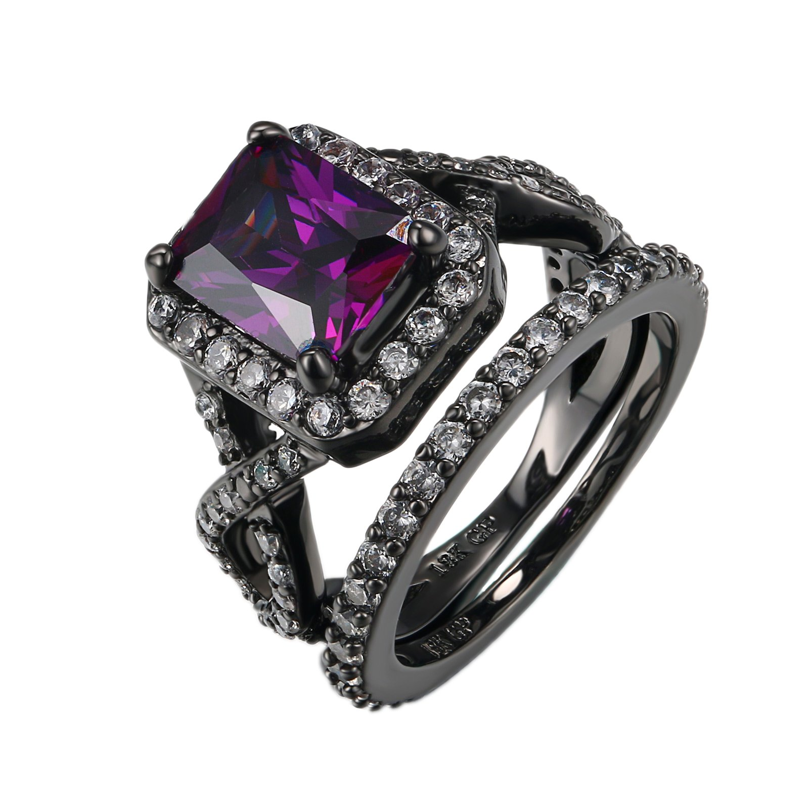 D.B.MOOD Size 6-10 Gorgeous Amazing Purple Amethyst Black Gun Plated Ring with White Crystal Set 9