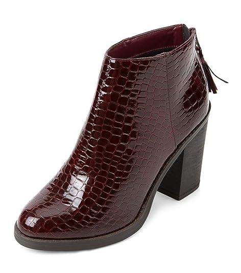 mujeres Top - Zapatillas de Trends 2015 Dark Red Patente Croc estructurada bloque tacón Botines, mujer, rojo oscuro, 6 UK: Amazon.es: Deportes y aire libre